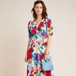 Faithfull the Brand Anita V-Neck Midi Dress 6/M
